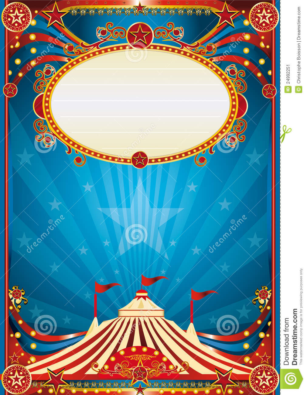 Blue circus background for a poster with a spot ligth writing your