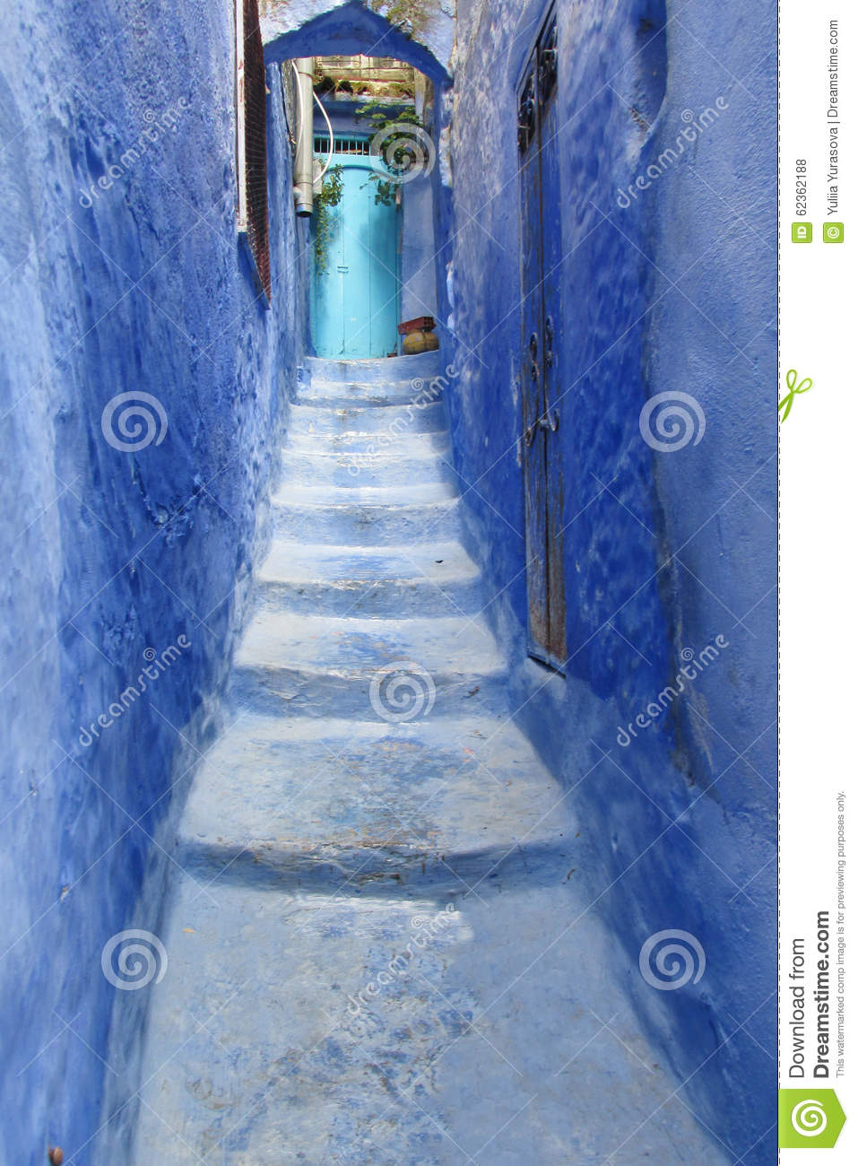 Blue City Chefchaouen Street Stock Photo Image 62362188