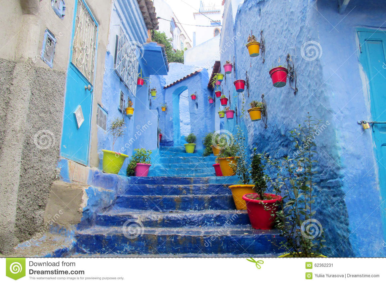 Blue City Chefchaouen Street Stock Photo Image 62362231