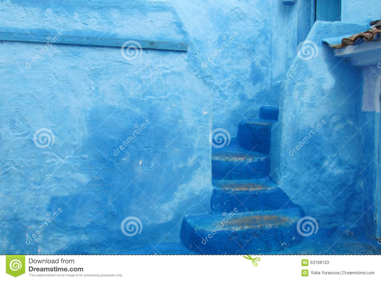 Blue City Stairs And Wall Stock Photo Image 63168103