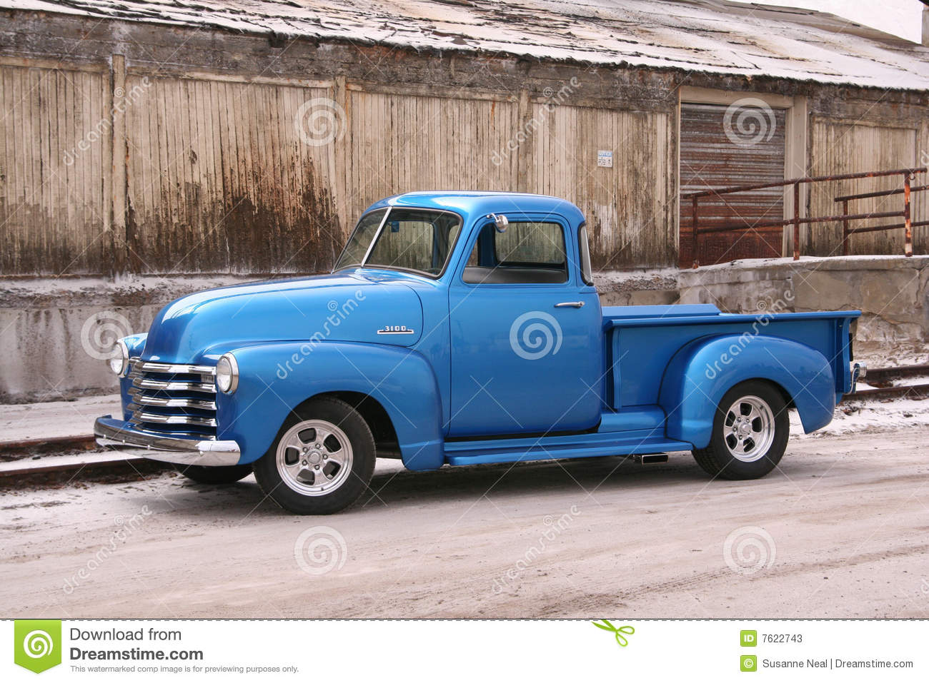 Blue Classic Pickup With Contrasting Background Stock Image Image