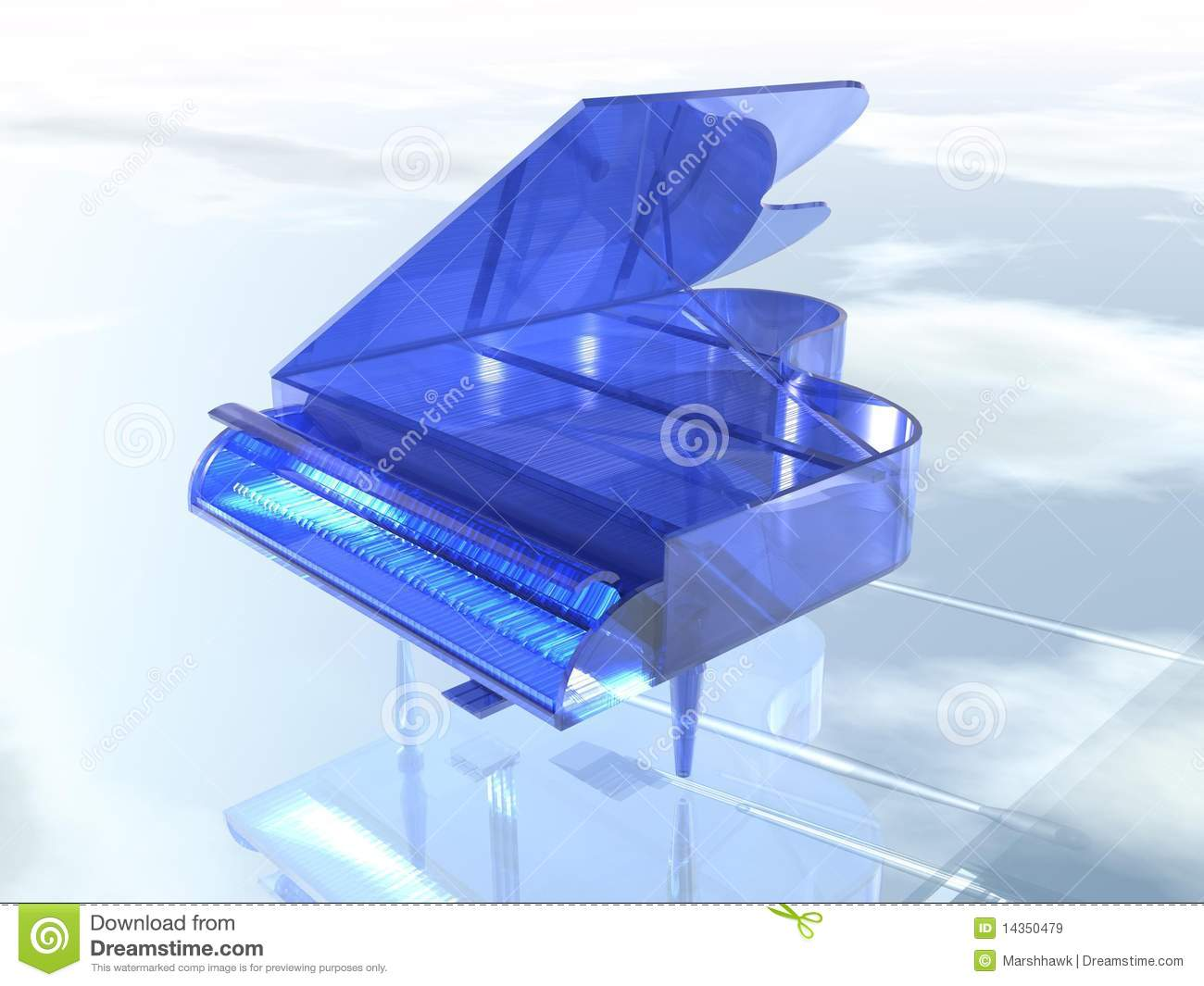 Blue Clear Glass Piano Royalty Free Stock Images Image