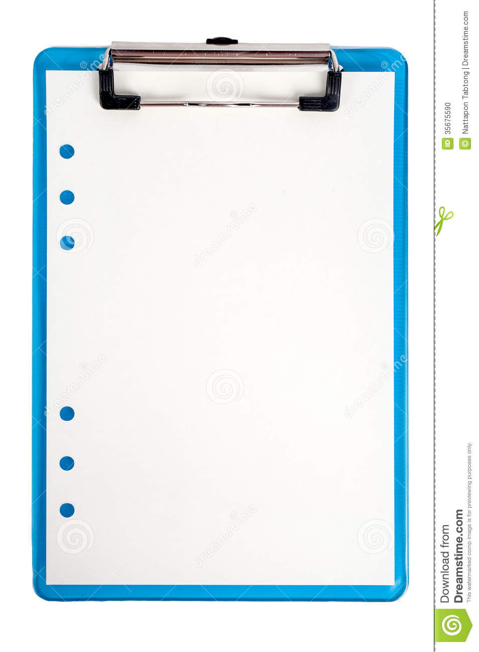 blue clipboard and paper isolated stock photo image of note