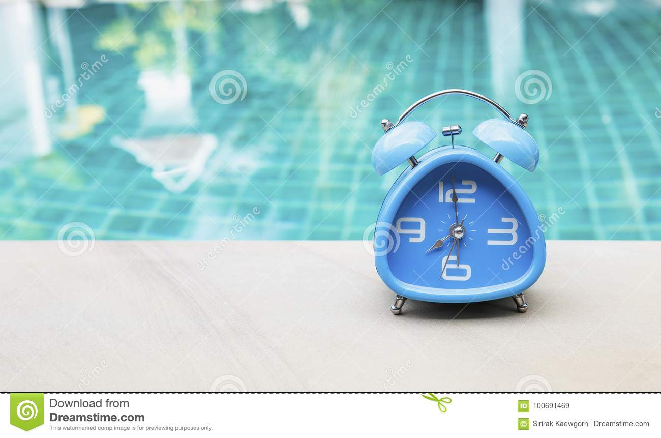 Outdoor Swimming Pool Clocks.Blue Clock On Swimming Pool Edge Stock Image Image Of Bell