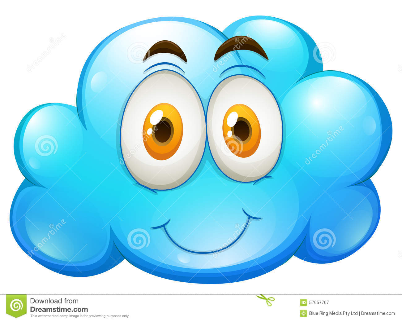 Blue Cloud With Happy Face Stock Vector Image 57657707