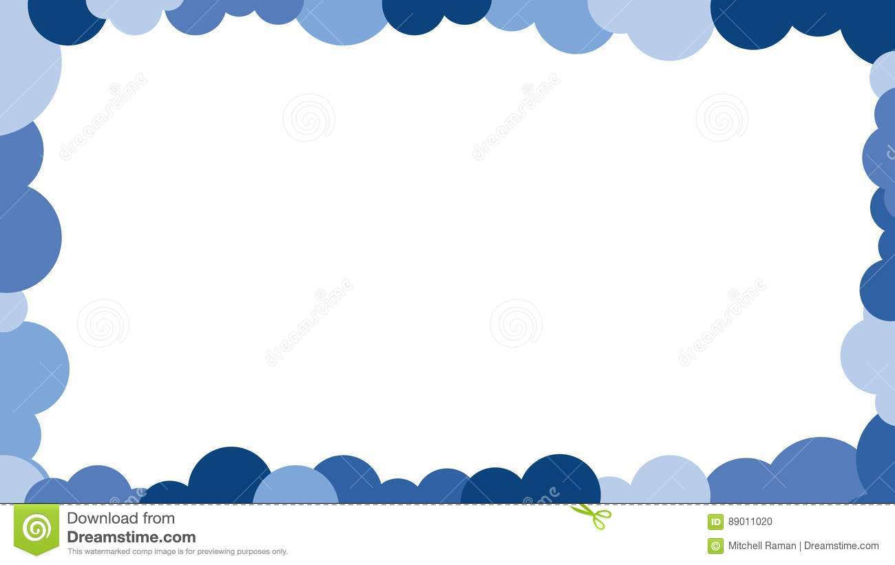 Blue Clouds Border Design Picture Frame Outline Vector Stock