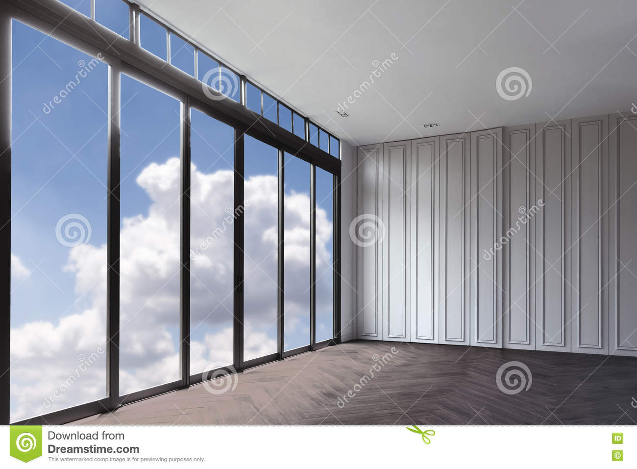 Blue Clouds Sky View From Clear Glass Window Door Frame Interio
