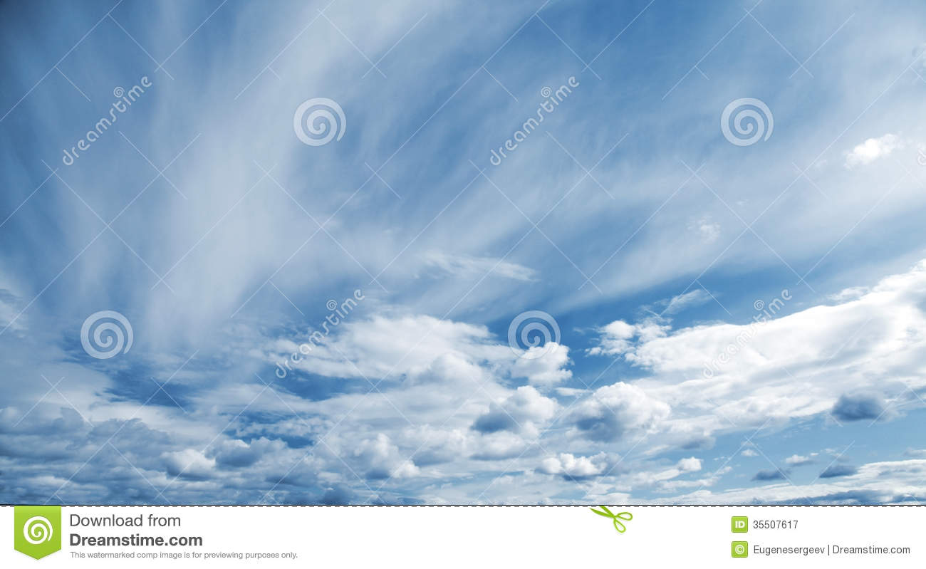 Blue Cloudy Sky Panoramic Background Royalty Free Stock ...