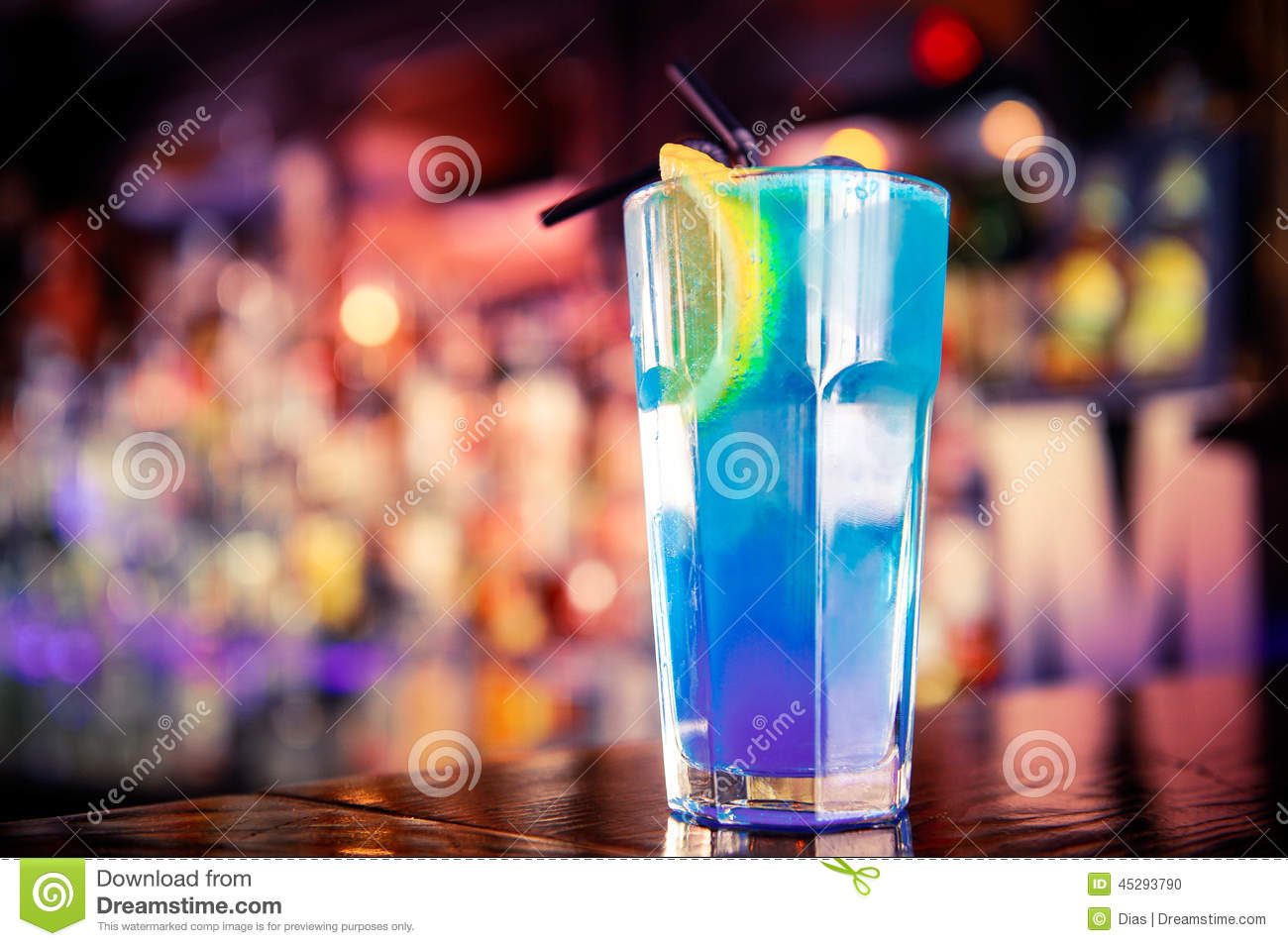 Blue cocktail on the bar