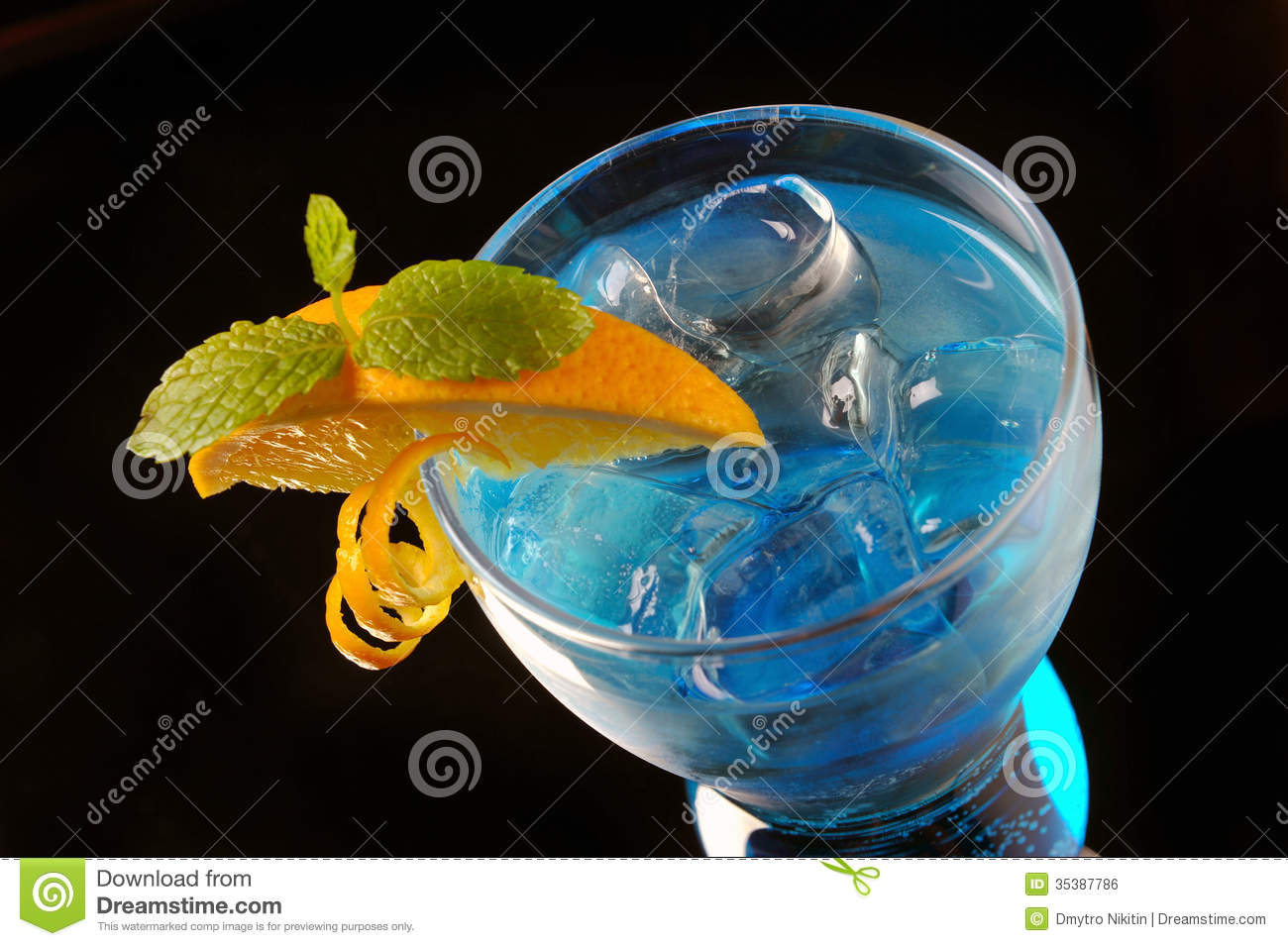 Blue cocktail with ice and orange royalty free stock image for Orange and blue cocktails