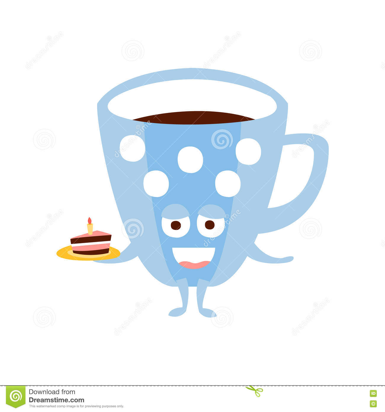 Cartoon Character Design For Cake : Blue coffee cup with piece of cake children birthday party