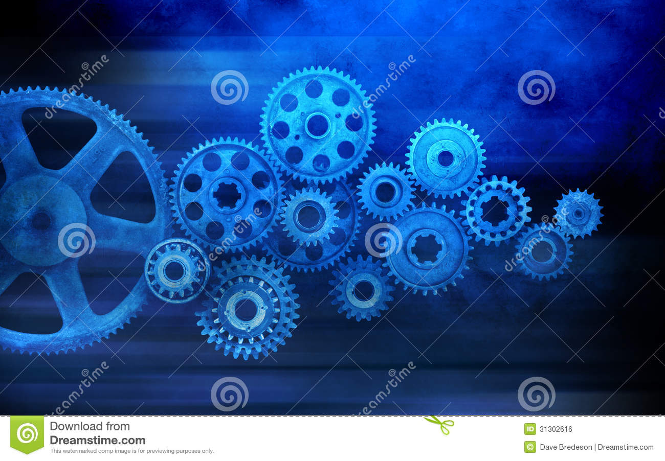 Blue Cogs Gears Business Background