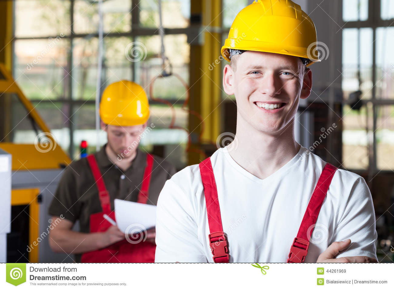 Blue-collar worker working in fabric