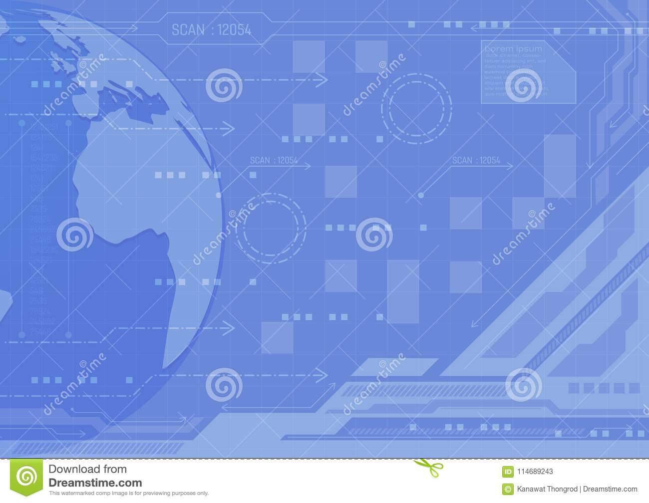 Blue color abstract background digital technology concept, vector illustration with copy space new design