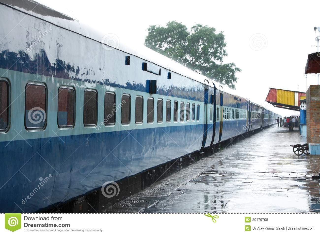 Ac Coach Of Indian Train On The Station During Rain Stock