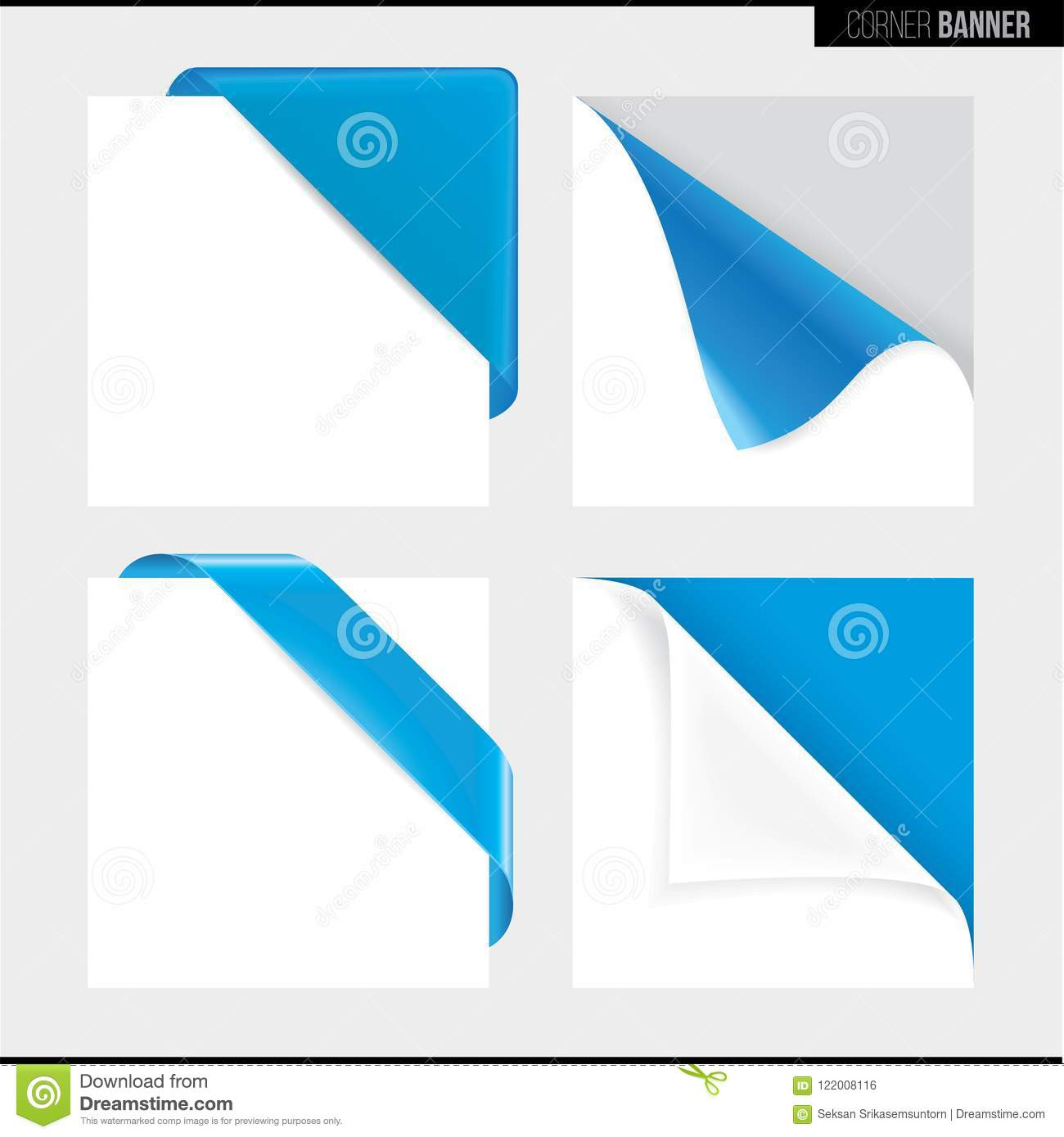 Blue color corner banner, vector illustration