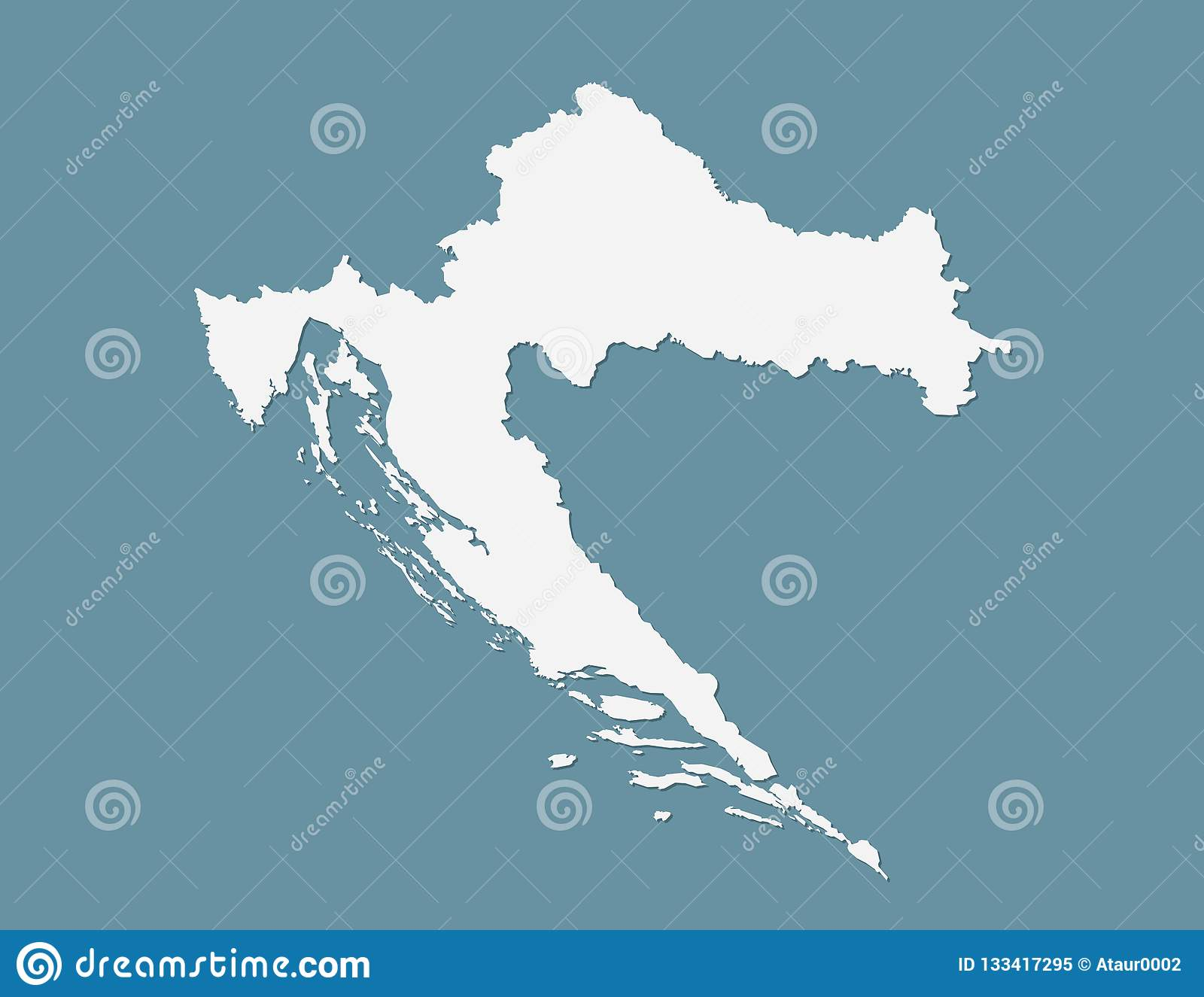 Blue Color Croatia Map Vector With Single Border Line On Dark ...