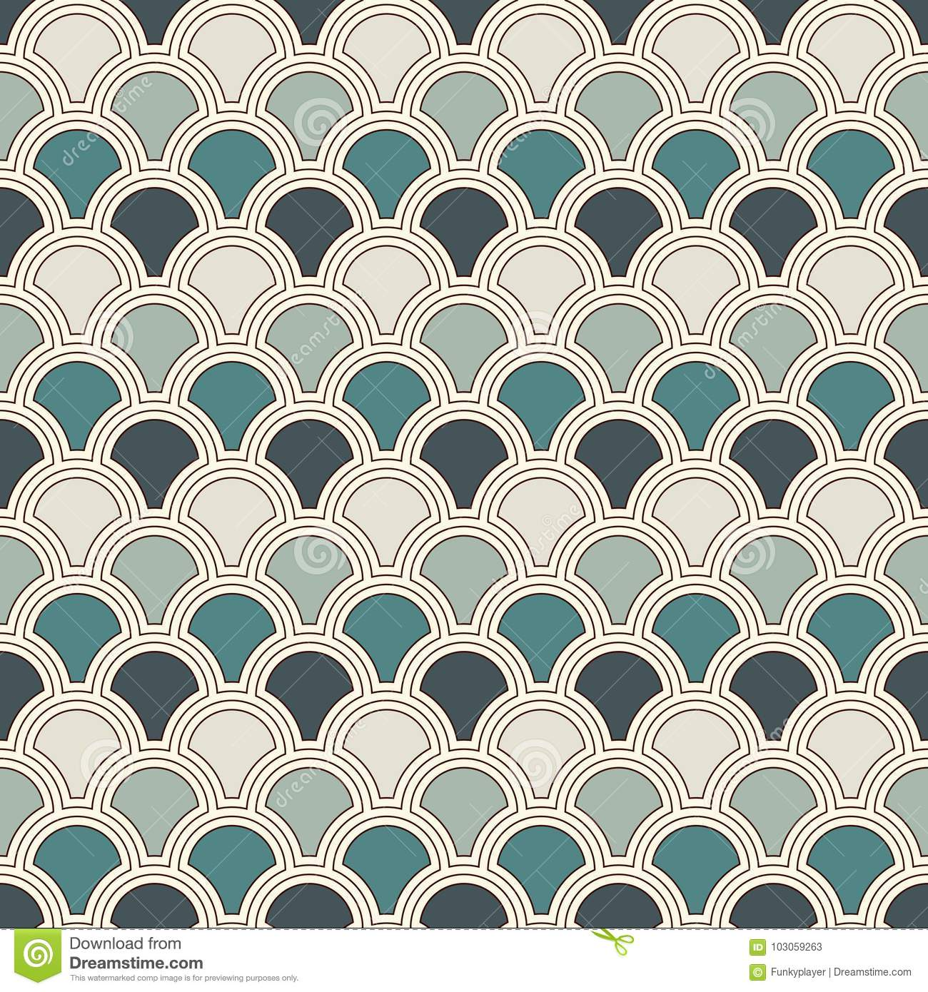 Blue color fish scale wallpaper. Asian traditional ornament with repeated  scallops. Seamless pattern with semicircles.