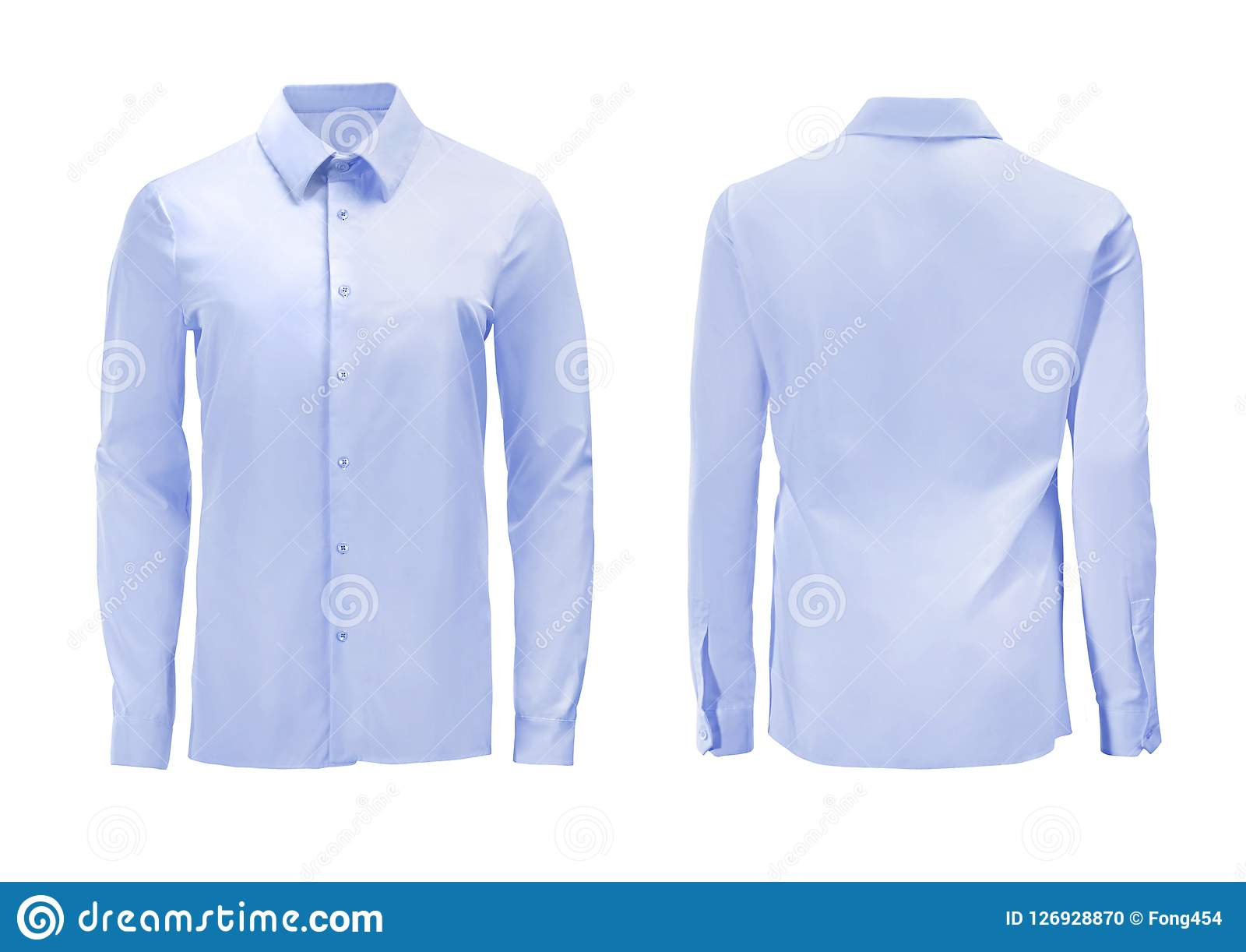 Blue color formal shirt with button down collar isolated on whit