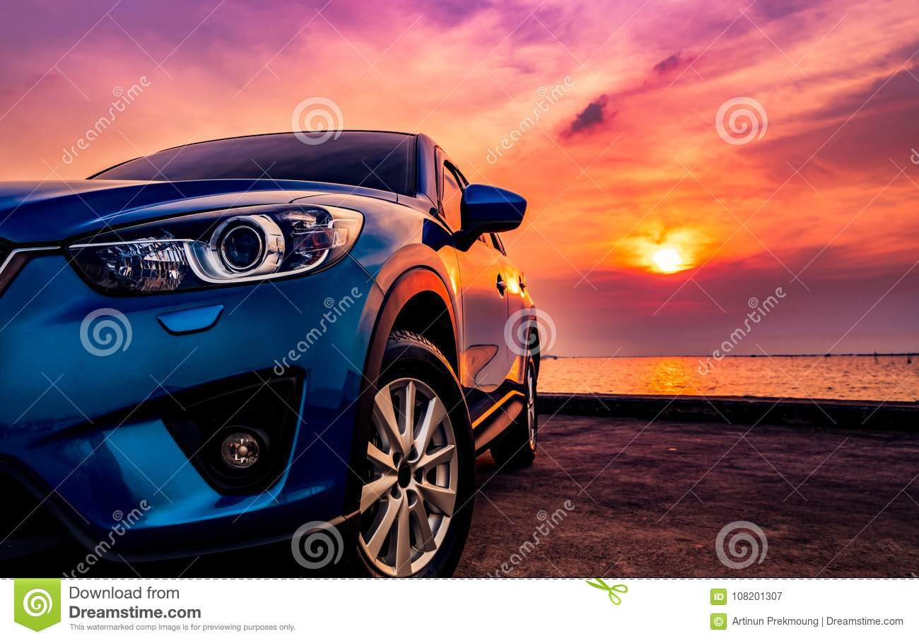 Blue compact SUV car with sport and modern design parked on conc
