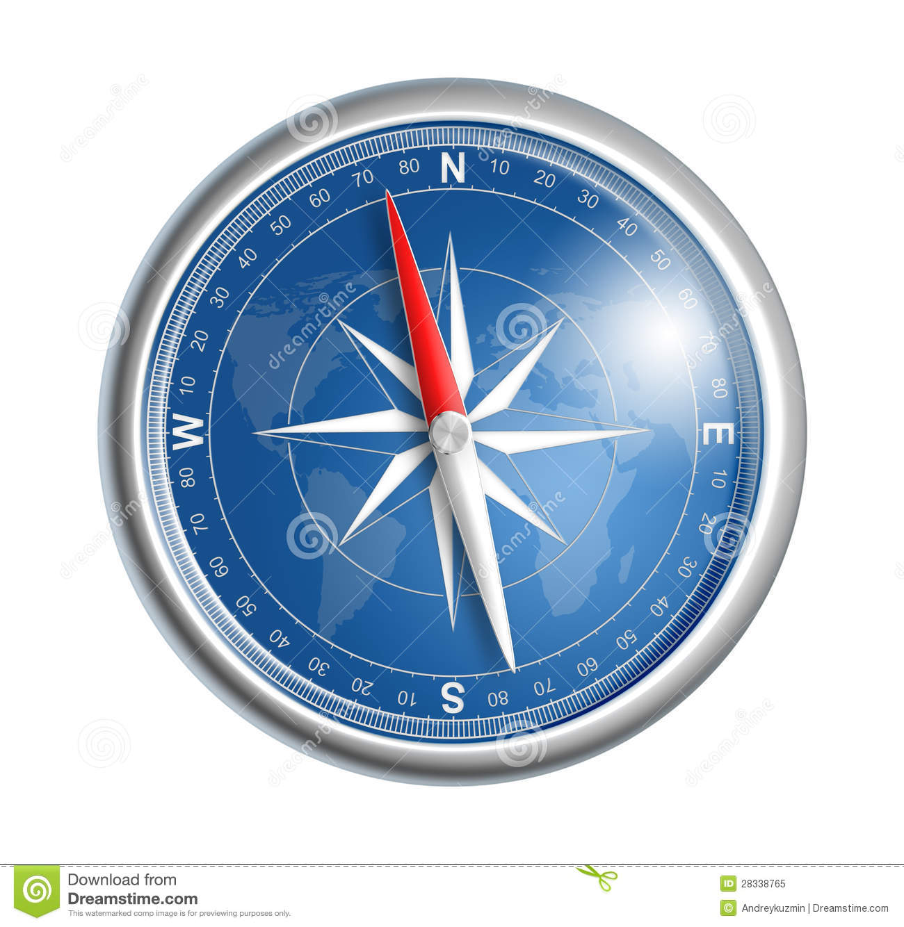 Blue Compass With World Map Royalty Free Stock Photo ...
