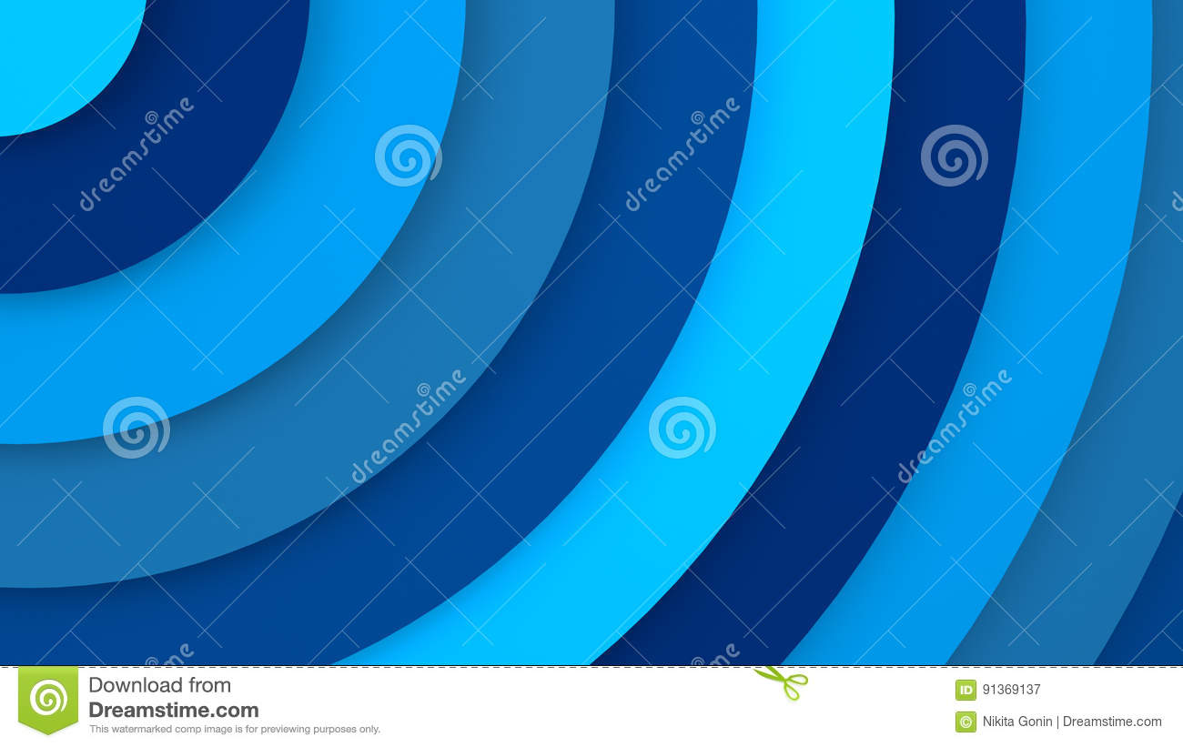 Blue concentric circles abstract 3D render