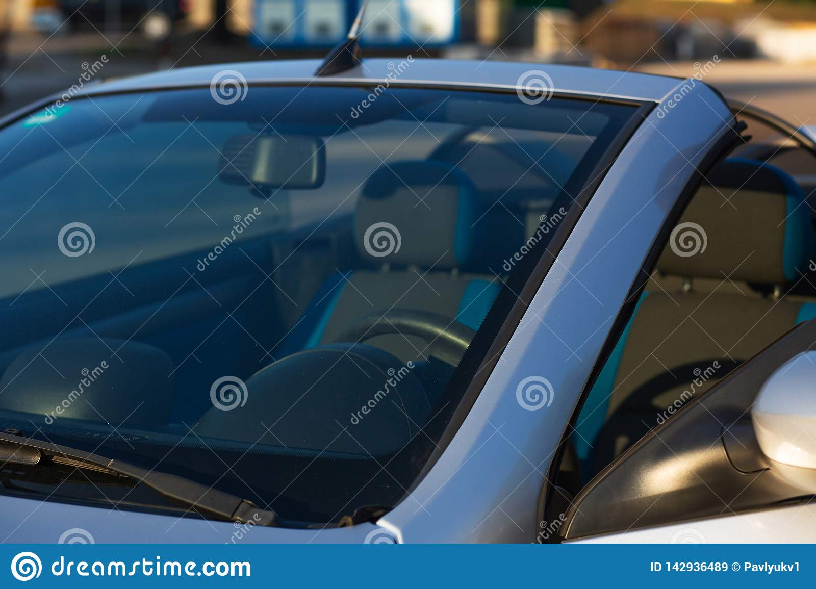 Blue Convertible Car Parked On The Street With Sun Light Stock Image Image Of Vehicle Auto 142936489