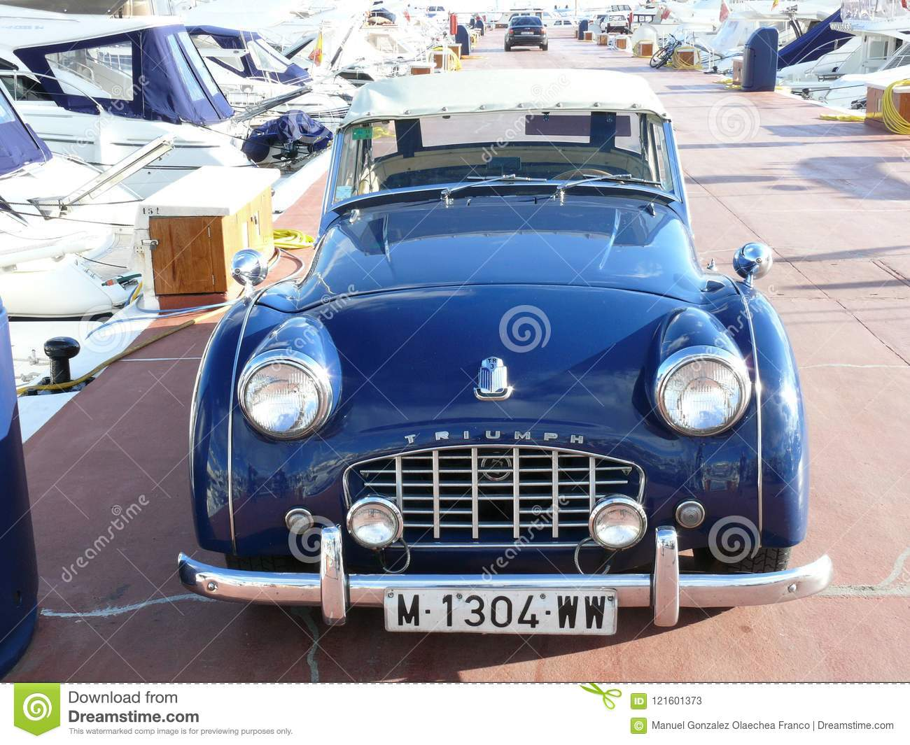 Blue Convertible Triumph Tr3 Parked In Spain Editorial Stock Photo