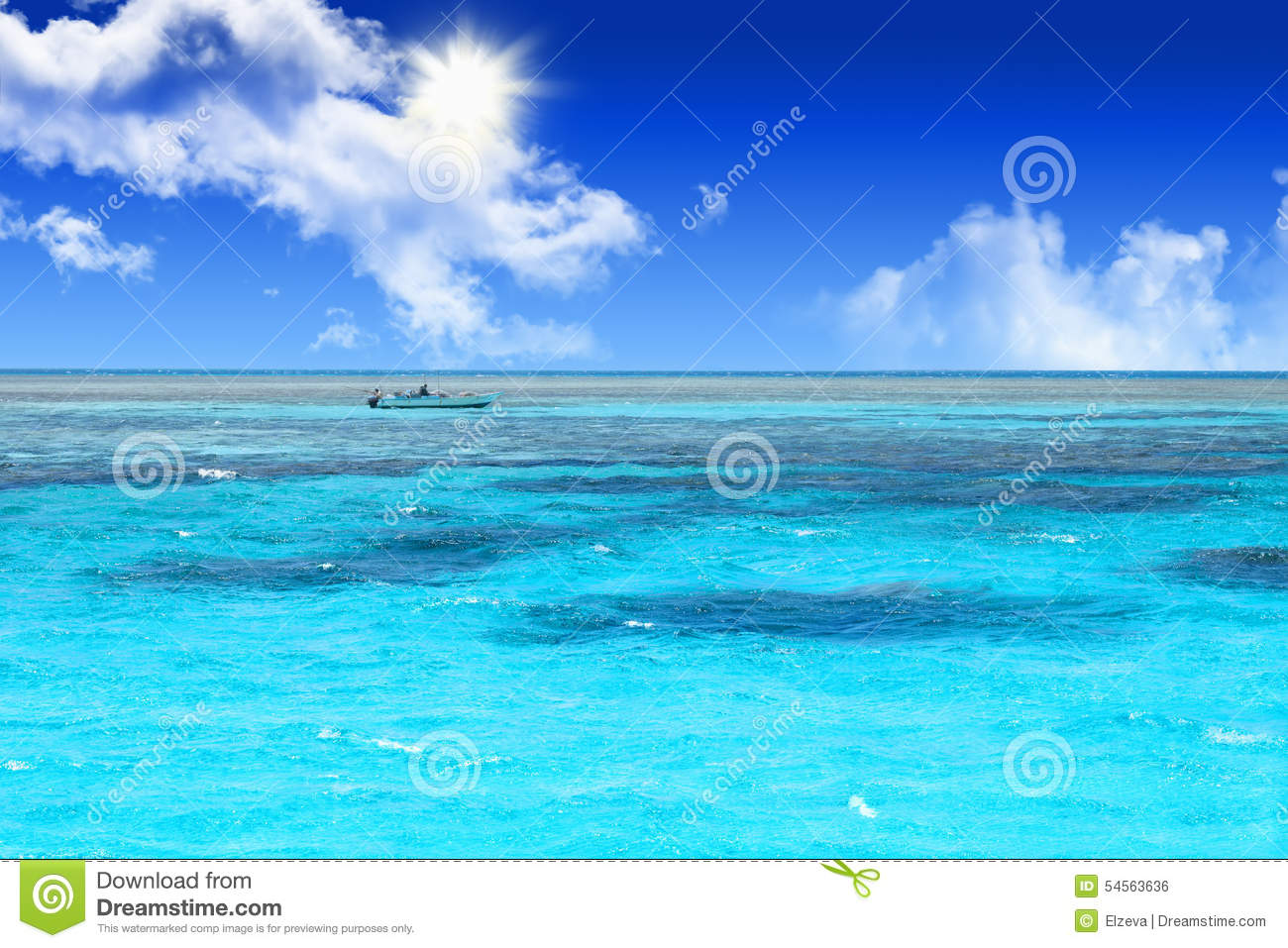 Blue coral water of a Red Sea