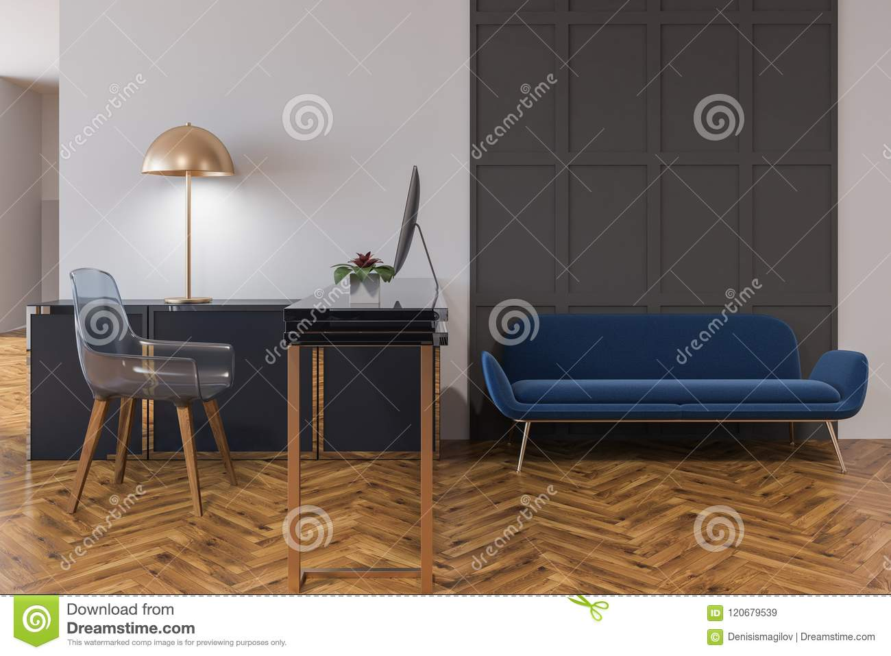 Outstanding Blue Couch In A Home Office Interior Stock Illustration Evergreenethics Interior Chair Design Evergreenethicsorg