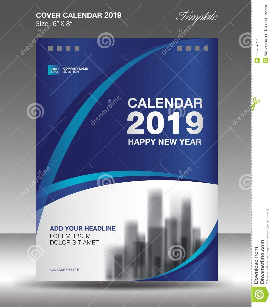 Calendar Cover Page Design : Blue cover desk calendar design flyer template ads