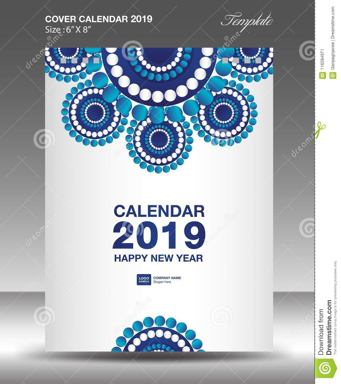Blue Cover Desk Calendar 2019 Design, Flyer Template, Ads Stock ...