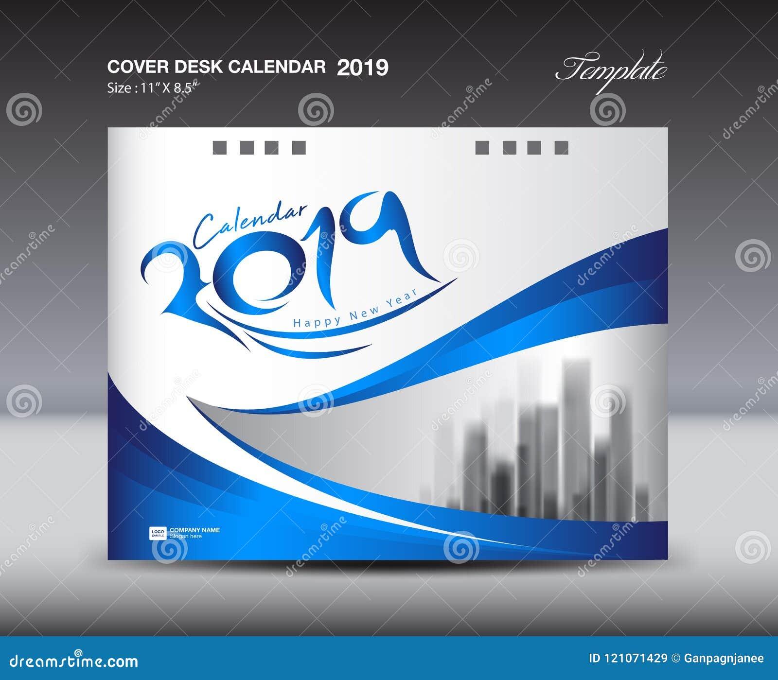 blue cover desk calendar 2019 design template flyer template ads