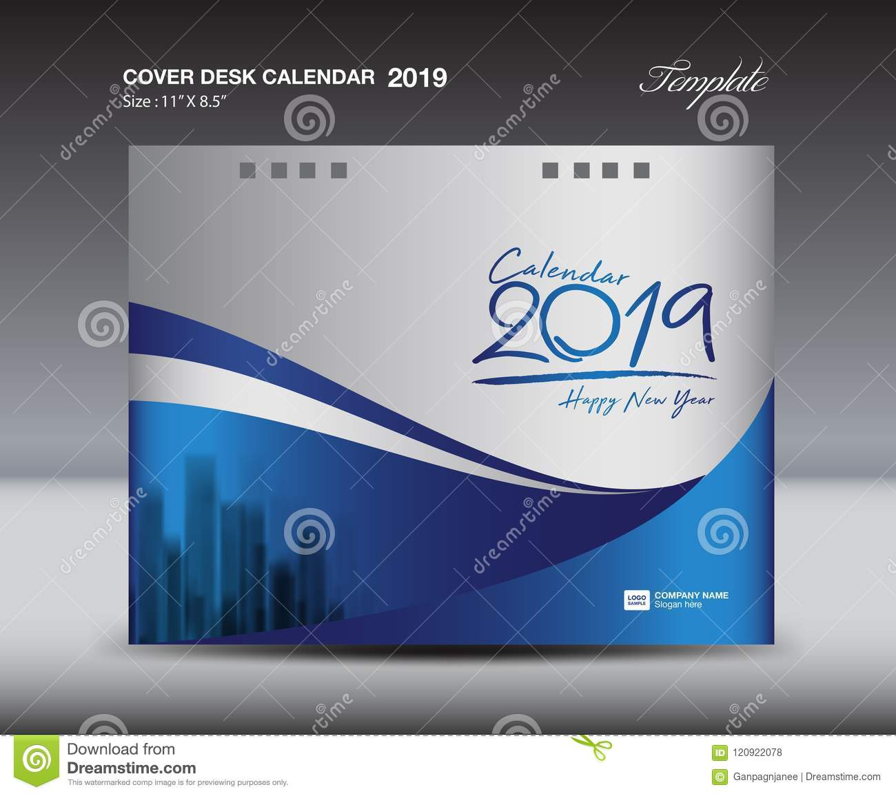 Blue Cover Desk Calendar 2019 Design Template Flyer Template Ads