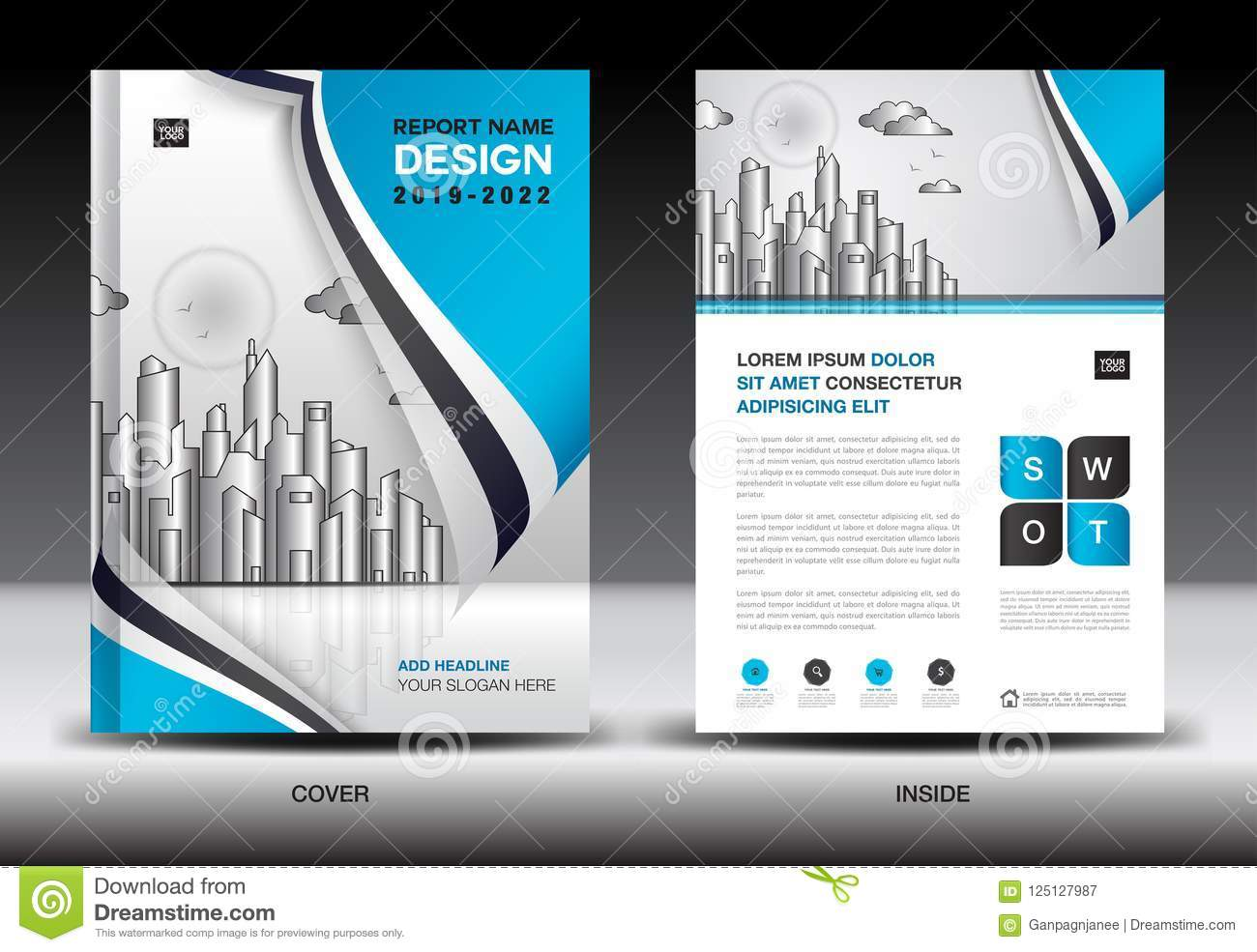 Blue Cover Template With City Landscape, Annual Report Cover Design ...