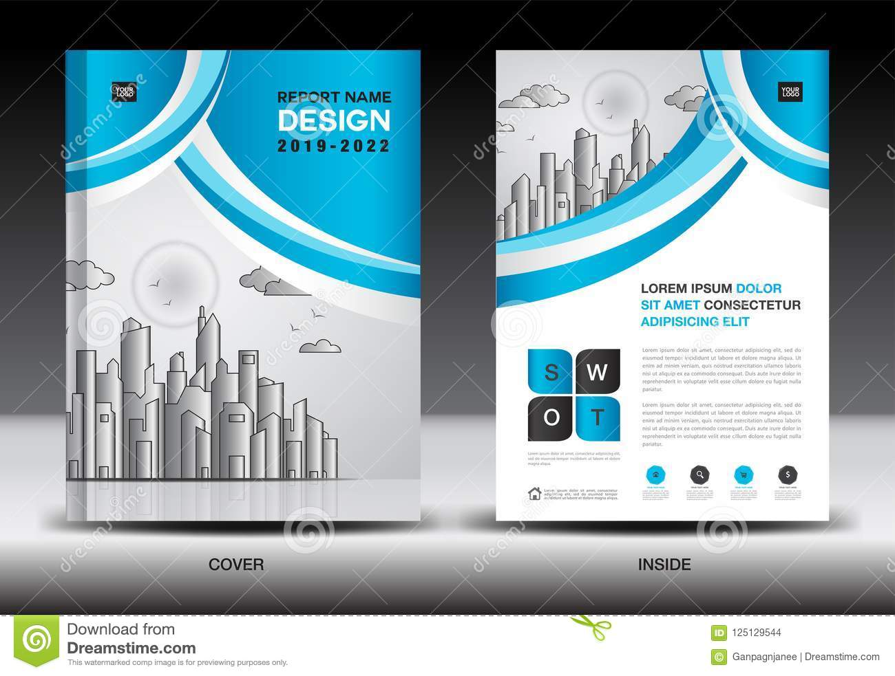 blue cover template with city landscape annual report cover design