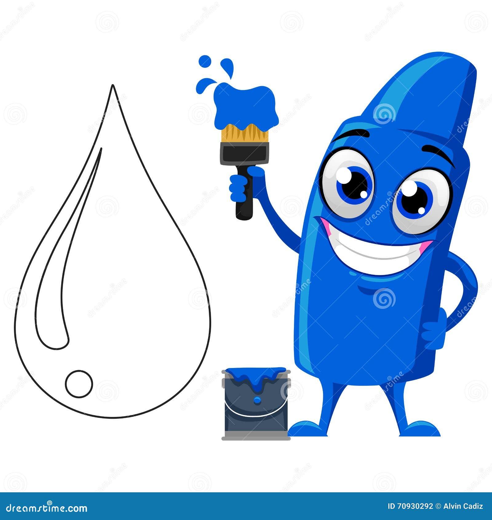 blue crayon mascot coloring water stock vector illustration of