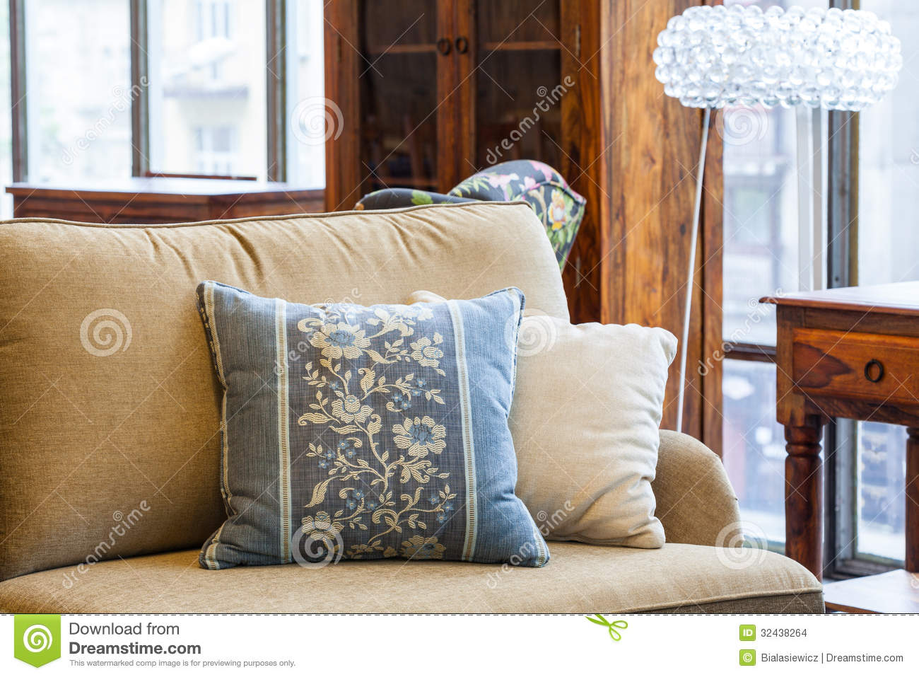 Blue and cream pillows stock images image 32438264 for Blue and brown lounge