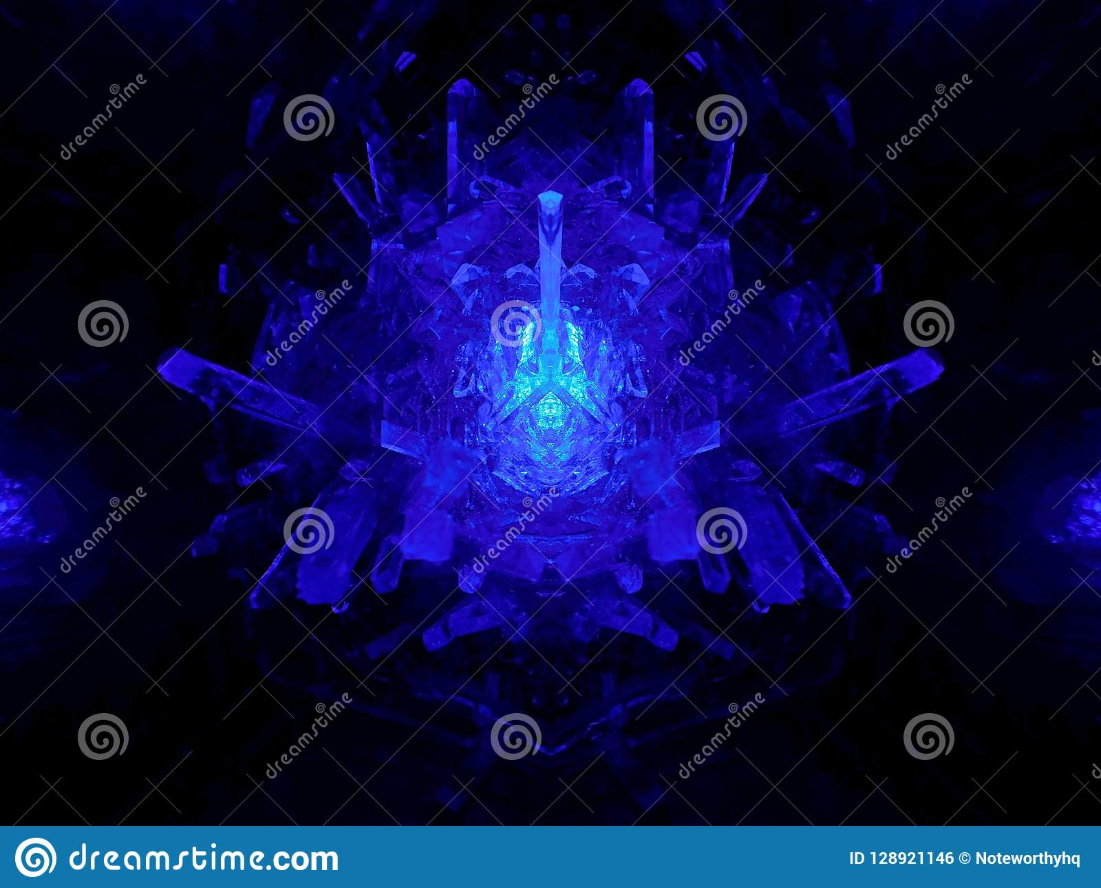 Blue Crystal Reflection Mirror Effect Stock Photo - Image of