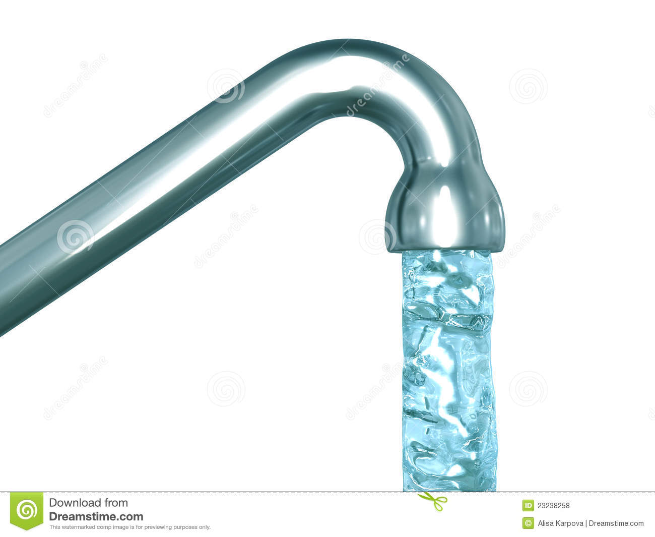 Blue Crystal Water Flow Out Of A Tap Royalty Free Stock