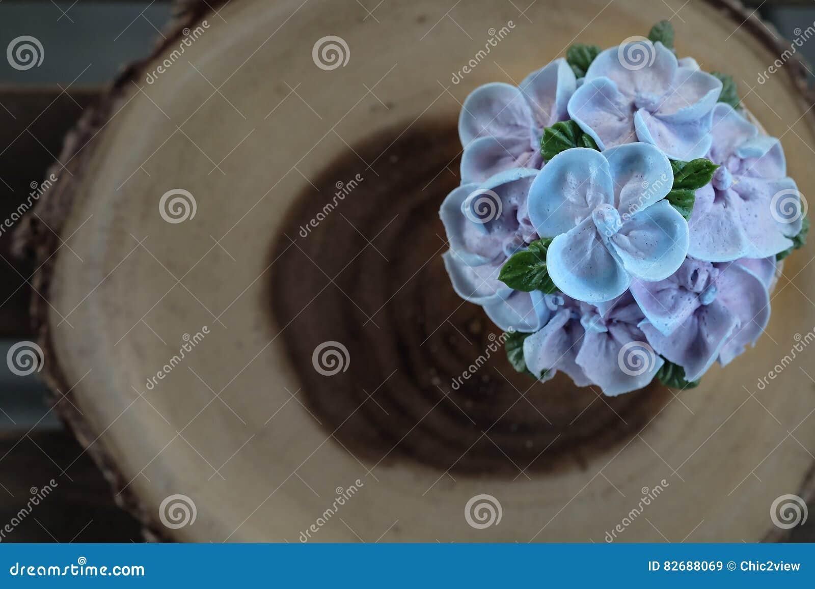 ba0df17712e Blue Cupcake Design Cream Like Blue Hydrangea Flower Stock Image ...