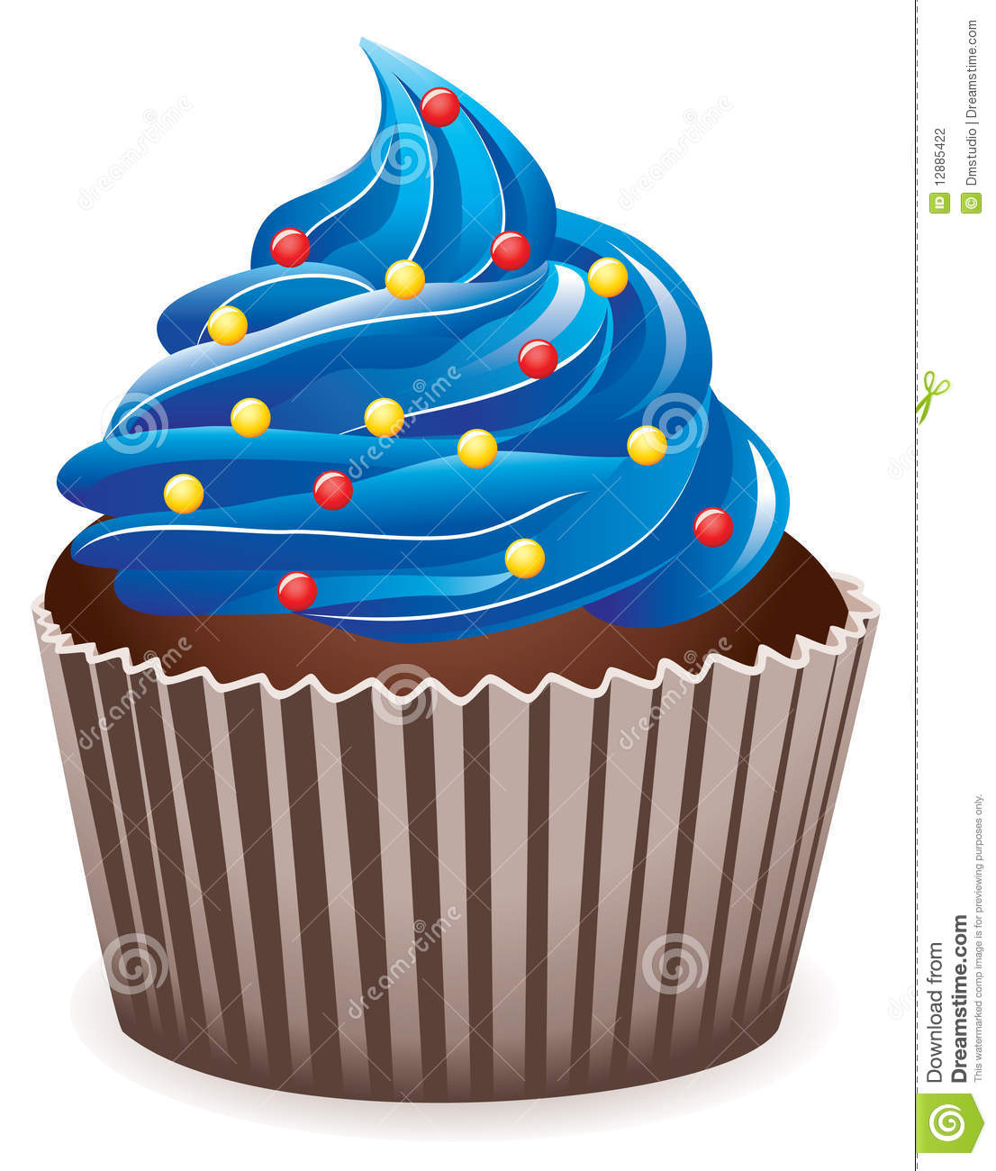 Blue Cupcake With Sprinkles Stock Photography - Image: 12885422