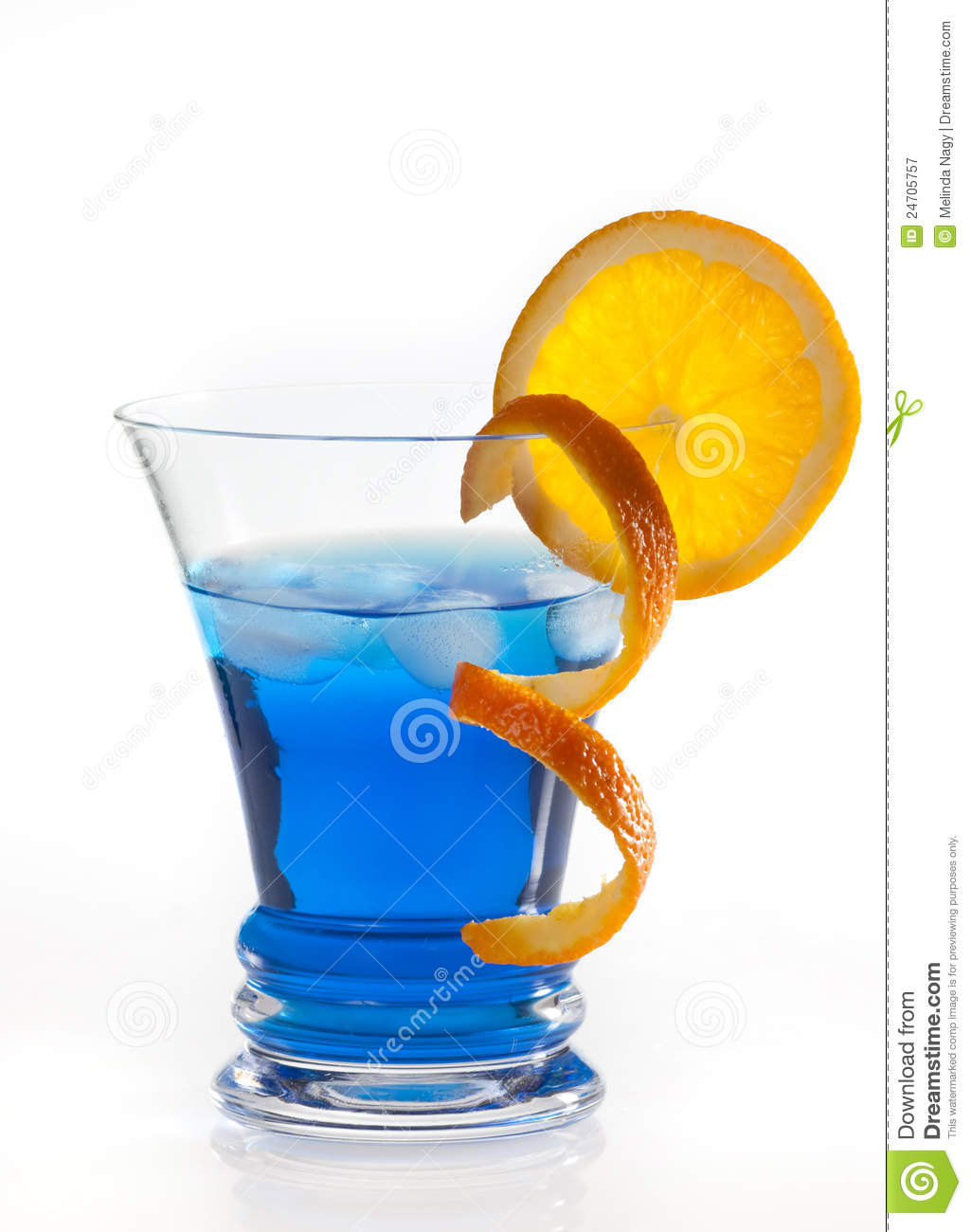 Blue Curacao cocktail isolated on white