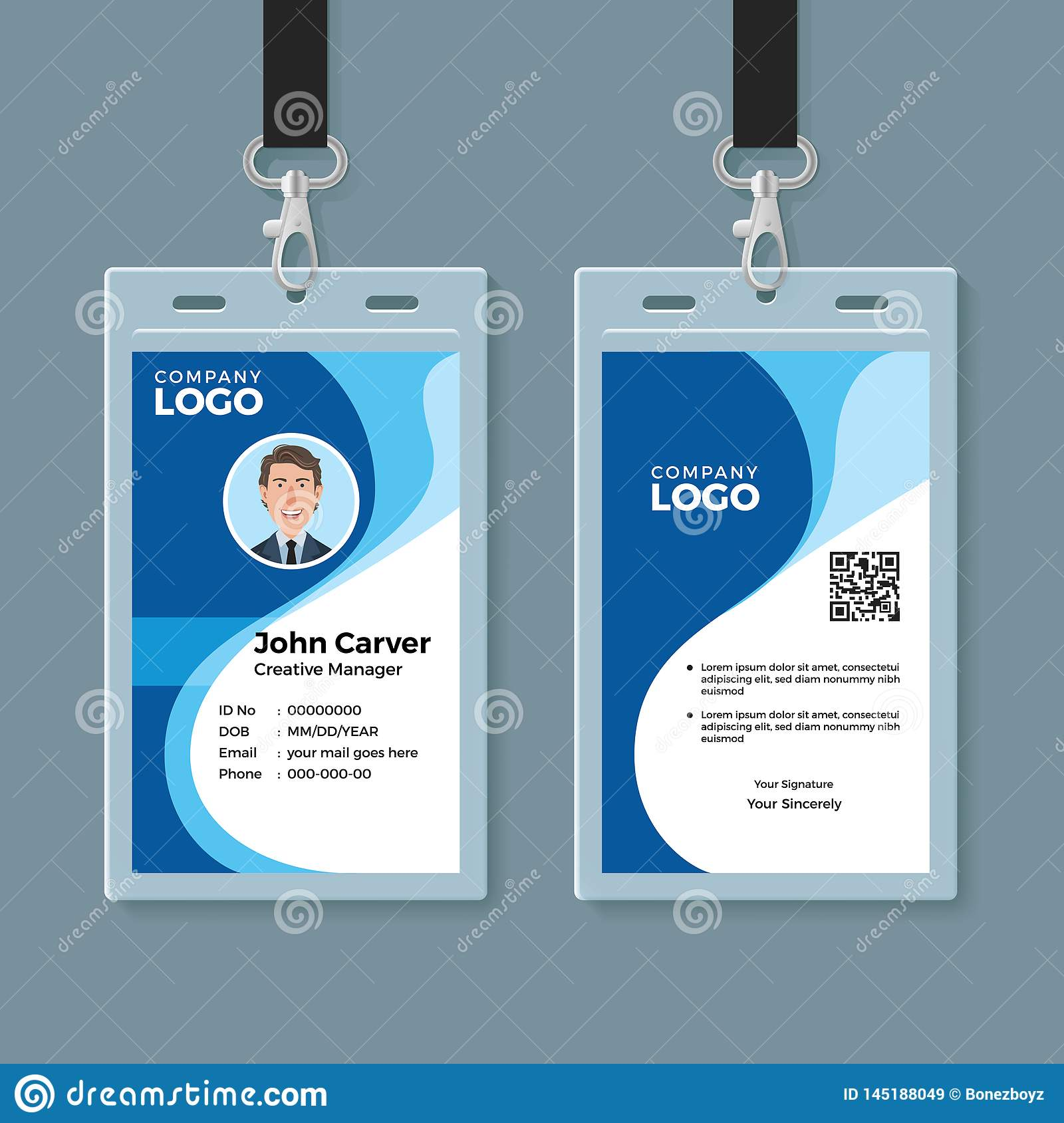 Blue Curve Wave ID Card Design Template Stock Vector With Regard To Template For Id Card Free Download