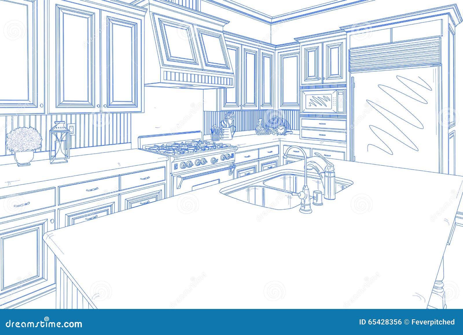 Blue Custom Kitchen Design Drawing on White