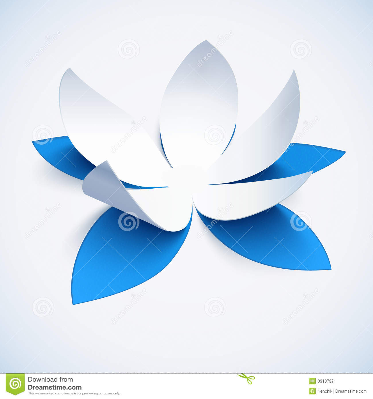 Lotus Flower Design Wall Paper : Blue cutout paper vector plower stock image