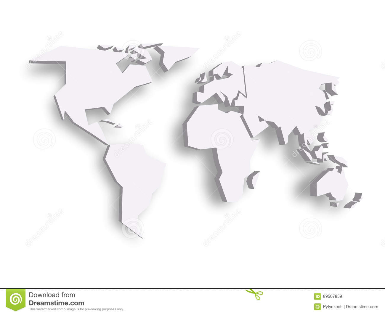 Vector Square Background Hd Vector Three Dimensional: Blue 3D Map Of World With Dropped Shadow On Background