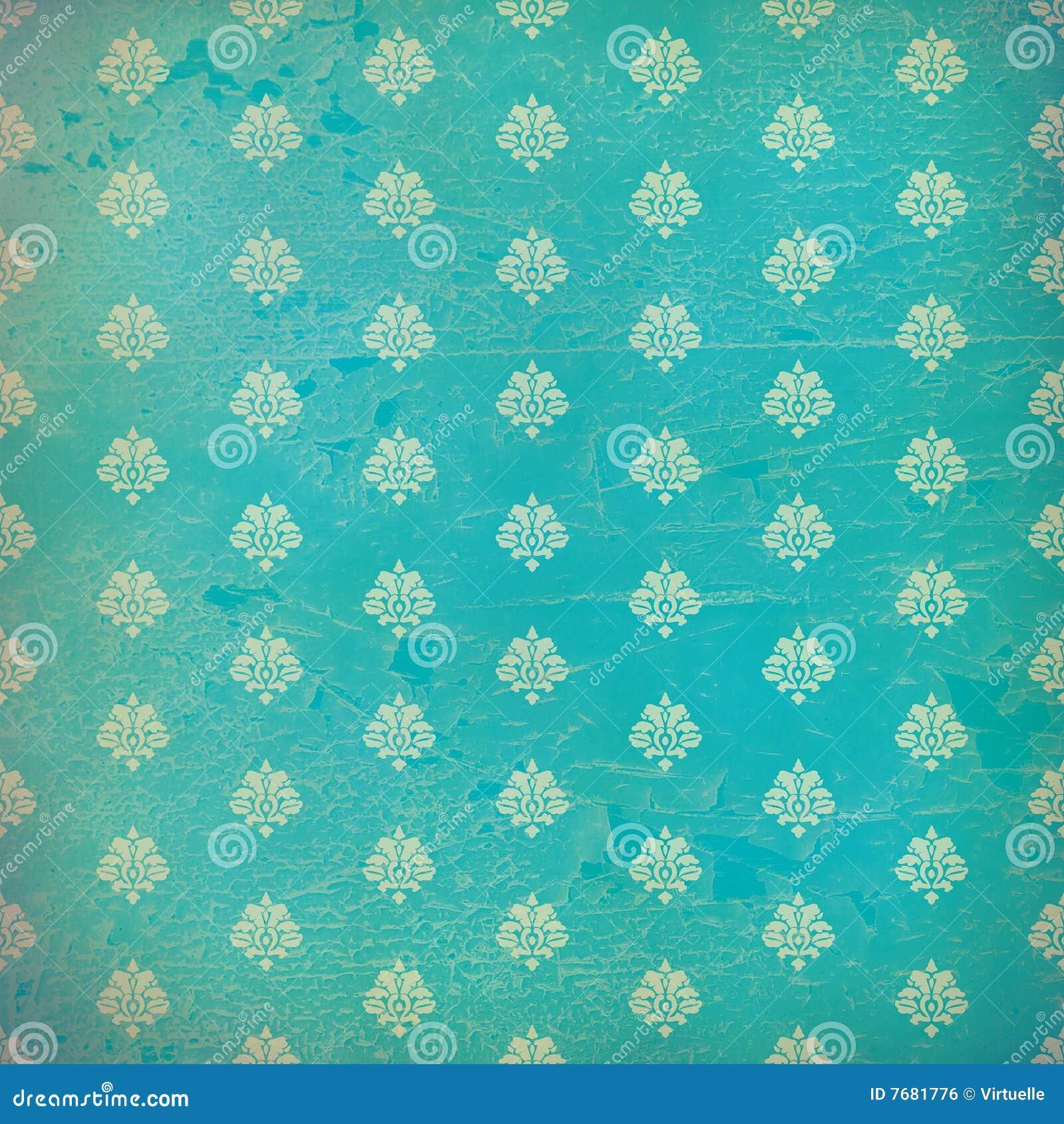 Blue damask grunge wallpaper