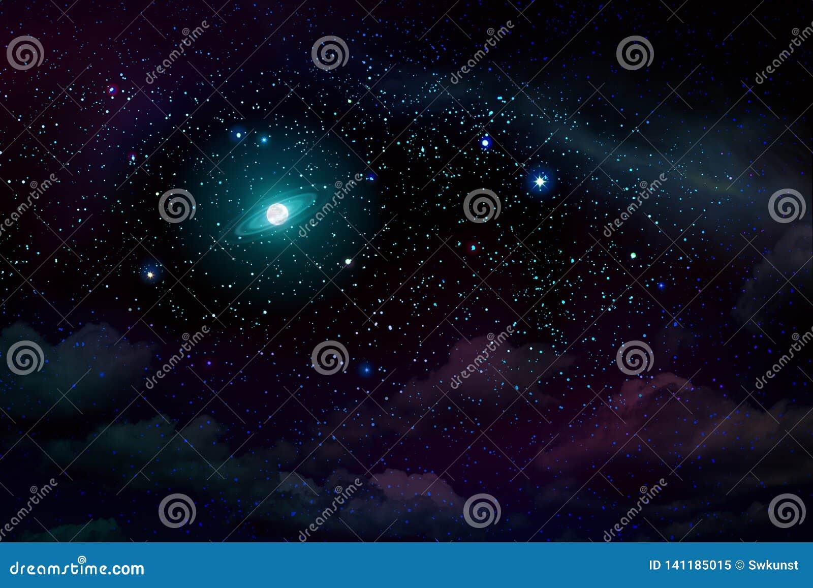 Blue dark night sky with many stars and full moon.