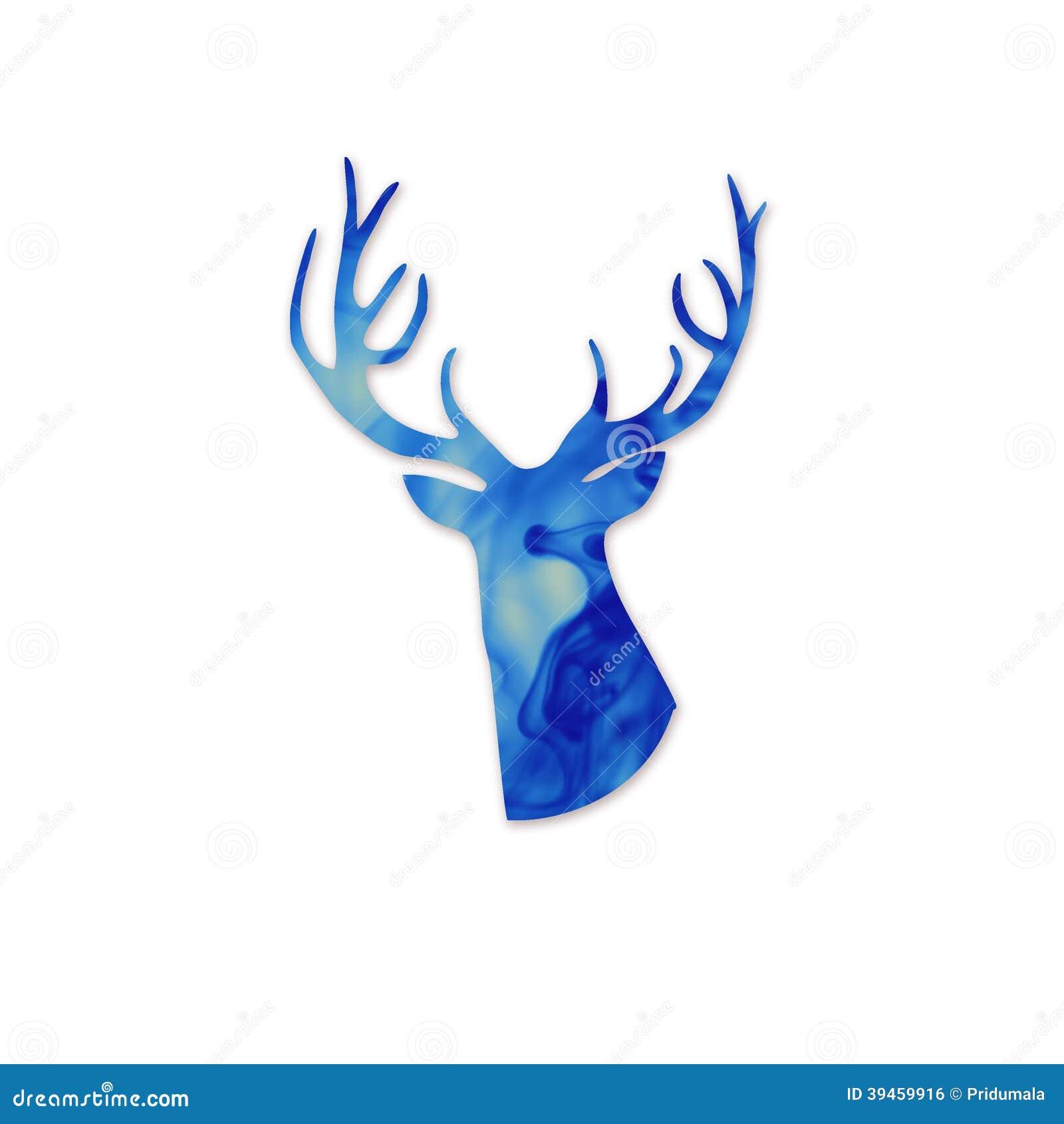 Blue deer head silhoueette. Space and deer modern poster. Cloud of ink ...